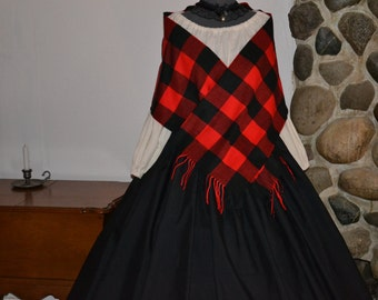 Civil War Colonial Prairie Pioneer Dress Plaid Shawl Mop Hat skirt blouse-Womens 5 piece