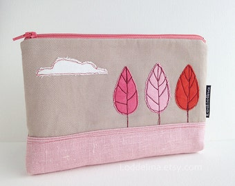 XL zipper POUCH - oatmeal and dusty pink linen with trees and cloud embroidery
