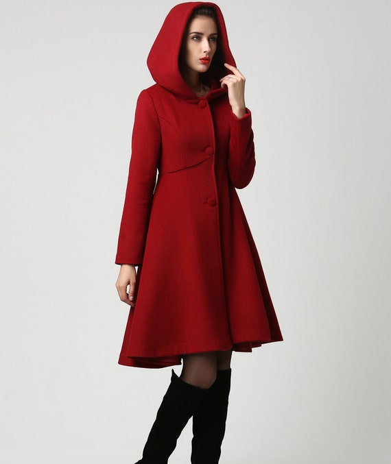 Discover this look wearing Red Coats, Blue Dresses, White Tights, Black Shoes tagged vintage elegance, s, coat, red, trench - Little red riding hood .