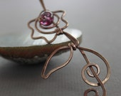 Shawl pin, scarf pin in flower on vine design with leaf in solid copper pin with raspberry lampwork and a pin stick