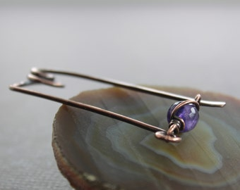 Safety pin style shawl pin, scarf pin with an amethyst clasp - Amethyst pin brooch -  Safety pin - Fibula - Beaded pin - SP068