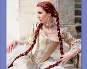 hair Medieval Renaissance costume wig SCA ren faire garb long 2 Braid hair extensions princess wig hair falls accessories synthetic hair