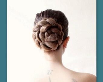 bridal hair wedding hairpiece ballet bun cover hair style Chignon updo Braid handmade bridal headpiece beach wedding hair accessory custom