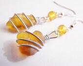 Frozen Collection - Sea Glass and czech glass crystals earrings - Beach - Summer - light - Petite - holiday - bridal - wedding - bridesmaids