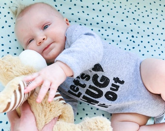 Baby Long Sleeve Onesie - Lets Hug It Out, Ready to Ship