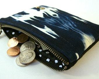 Indigo Bleached Denim Coin Purse Medium Zipper Pouch