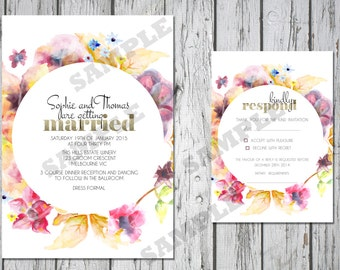 Modern Floral Glitter Wedding Invitation Set DIY Printable