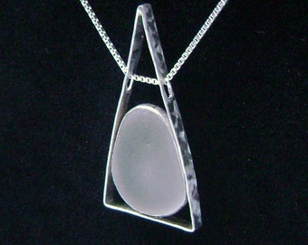 Sea Glass Jewelry - Sterling White Sea Glass Necklace