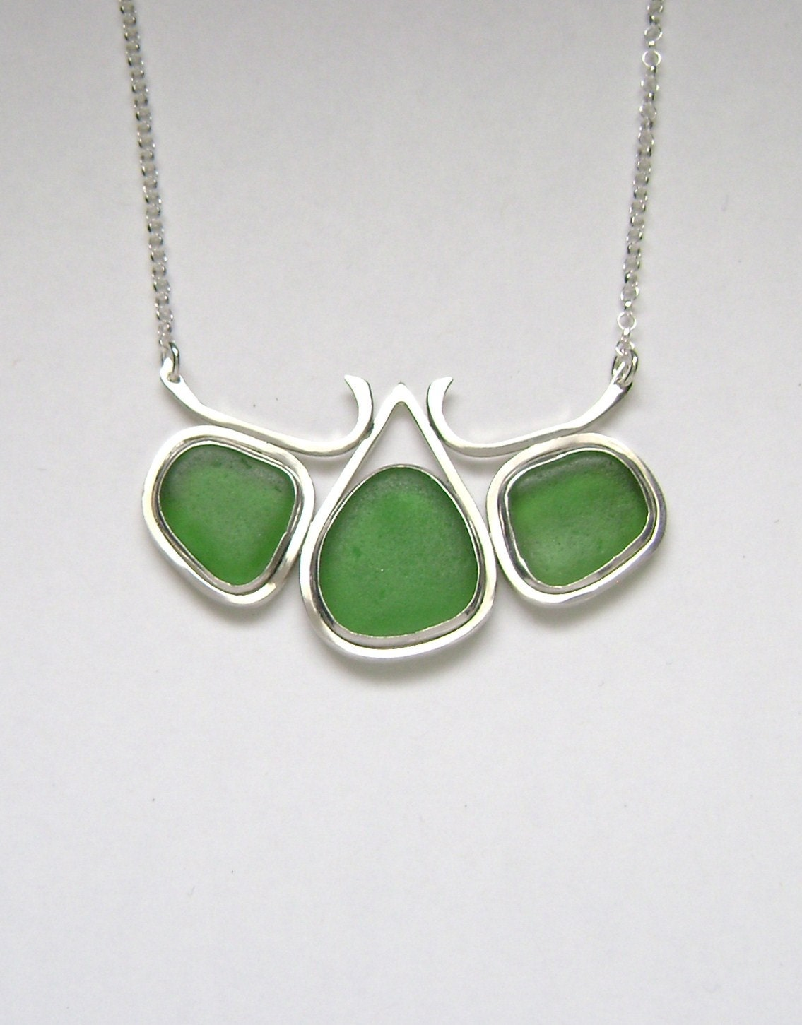 sea glass jewelry sterling green sea glass necklace