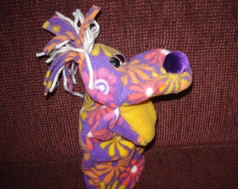 Purple  Flower Power  hand puppet moveable mouth