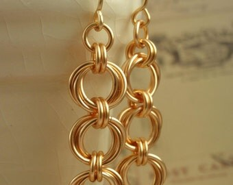 14kt Gold Filled Earrings - Linked Loops II - Eyecatching Chainmaille Kit or Ready Made
