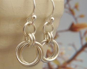 Sterling Silver Small Linked Loops Chainmaille Earrings