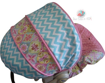 LAST ONE Infant Car Seat Cover Splendor Flowers with Chevron -Moves to Toddler