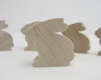 """Wooden bunny rabbit cutout 1.5"""" tall unfinished diy set of 5"""