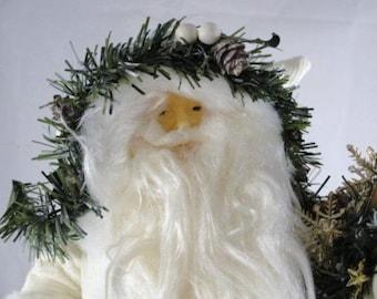 "Vintage Santa in white coat, 18"" tall standing santa NOS"