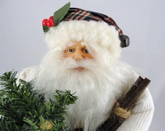 "Vintage Santa in white coat, country santa, 16"" tall standing santa NOS"