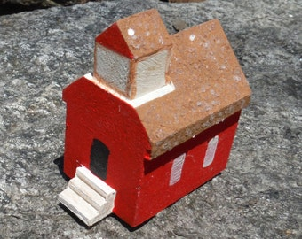 MINIATURE One Room SCHOOL House, TOYS, Red School, Wooden School, Vintage, Holiday Village Supply, DioramaHand crafted,Hand painted,Barn,D5