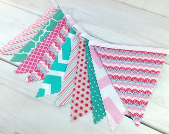 Bunting, Banner, Photo Prop, Baby Girl Nursery Decor, Cake Smash, Garland, Pennant - Pink, Magenta, Teal Blue, Turquoise, Chevron, Scallop