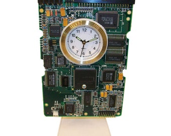circuit board alarm clock from recycled computer hard