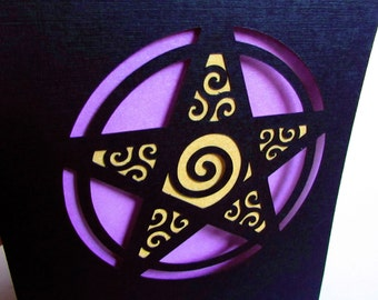 WICCAN Pagan Greeting Card PENTAGRAM Star Modern Paper Cut Art Purple Gold