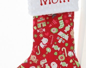 Personalized Christmas Stocking - Red Christmas Mix