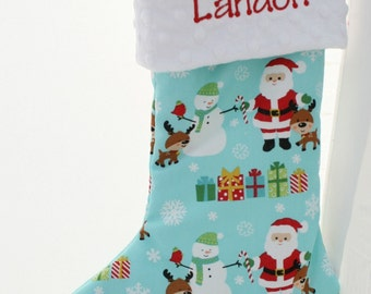 Personalized Christmas Stocking - Blue Christmas Santa and Snowman