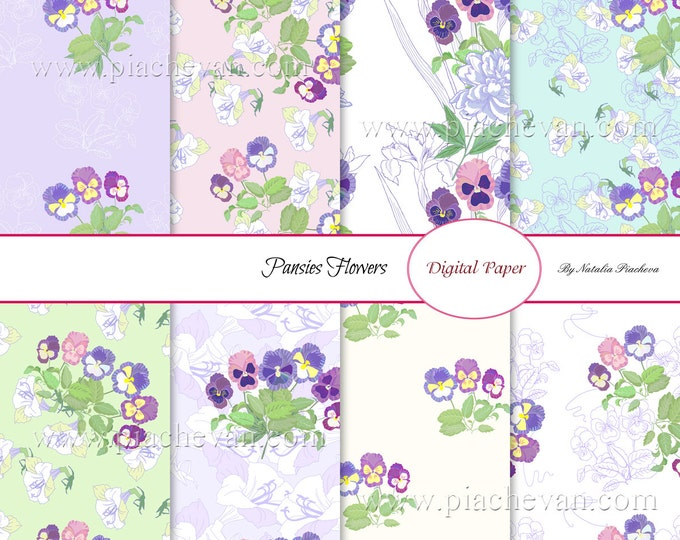 Digital paper with Pansies Flowers, bouquet, botanical, Mothers day, watercolor, spring , hand drawing, pansy, wedding, wedding invitation