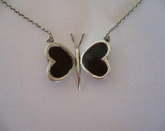Vintage Sterling Silver and Black Onyx Butterfly Necklace