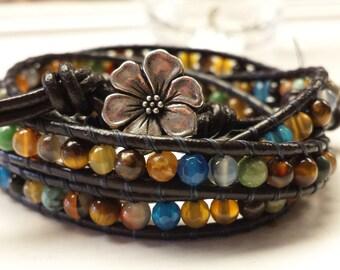 Gorgeous Gemstone Leather Wrap Bracelet