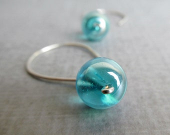 Aqua Blue Earrings, Dangle Earrings, Blue Bubble, Sterling Wire Earrings