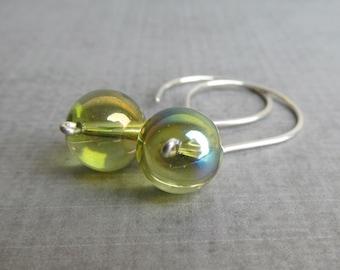Peridot Green Glass Earrings, Green Dangle Earrings, Green Earrings, Glass Dangles Green, Sterling Silver Wire Earrings, Green Silver Dangle