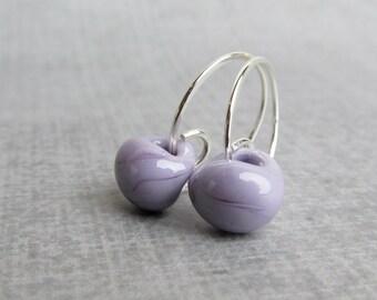 Purple Hoop Earrings, Small Earrings Hoops, Light Purple Earrings, Small Hoops, Lampwork Earrings Purple, Sterling Silver Wire Earrings