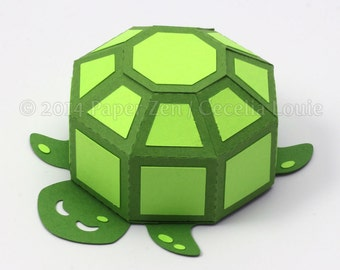 Turtle - Paper Gift Box Die Cutting with SVG files and PDF instructions for Silhouette and Cricut machines