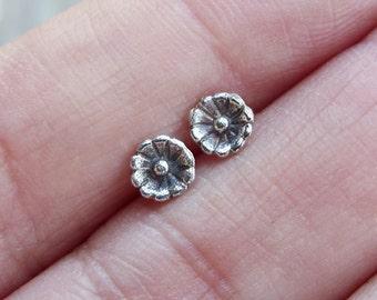 One Pair of Tiny Flower Earrings in Sterling Silver - Tiniest Wildflower Studs - Choose Marigold, Daisy, Violet, or Chrysanthemum