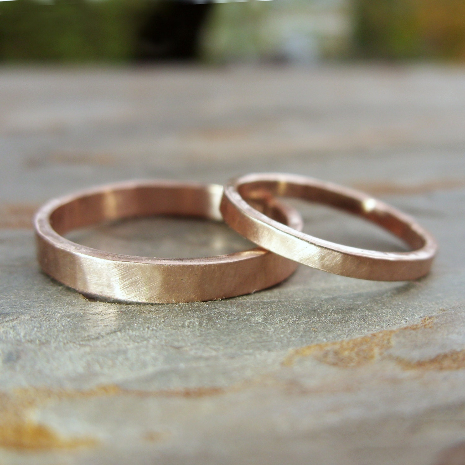 simple thin 14k rose gold wedding band matching gold wedding bands Hammered Matching Wedding Band Set in Solid 14k Yellow or Rose Gold Flat Bands in 2mm and 3mm Choose Polished or Matte Finish