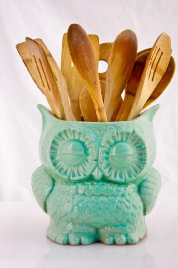 Handmade Large Kitchen Utensil Holder Ceramic Owl By