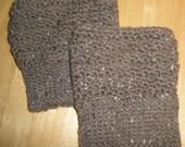 Boot Cuffs - Hand Crochet - Brown Tweed