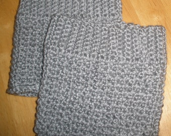 Boot Cuffs - Hand Crochet - Light Heather Grey
