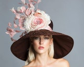 Chocolate brown/ blush/ old pink rose Derby hat, kenucky derby hat, couture hat, Del mar hats.