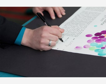 Signing custom painted Ketubah-Guestbook all in one - Hand made Calligraphy Ketubah and Guestbook - designed and painted by OnceUponaPaper