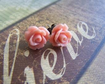 Salmon Pink Rose Post Earrings