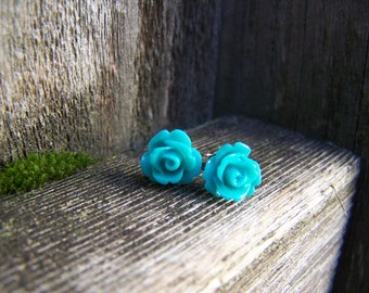 Teal Blue Rose with Sterling Silver Post Earrings
