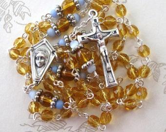 Topaz Czech Glass Petite Rosary-November birthstone Rosary