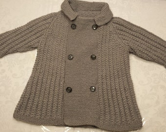 SALE Hand Knit Toddler Grey Sweater Jacket CLEARANCE