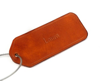 Custom Leather Bag Tag, Handmade Luggage Name Tag, Laptop Business Case Tag