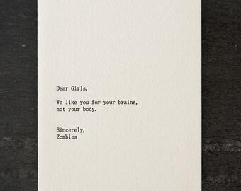 girls/zombies. letterpress card. #267