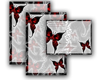 Printable Stationery Digital Download - Red Gothic Butterflies Stationery and Envelope Set