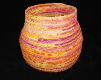 Super Large Yellow, Orange, Hot Pink Amazing Fabric Basket