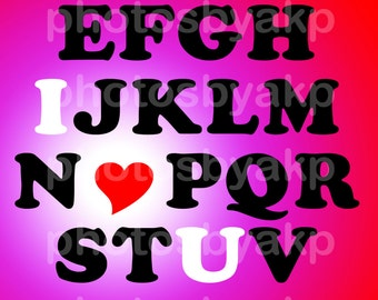 "I Love U Alphabet Typography Art Digital Instant Download 8.5"" x 11"" PDF"
