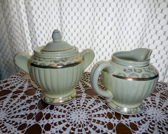 Rare Mint Green Glaze Redware Creamer and Sugar Bowl Set with Gold Trim
